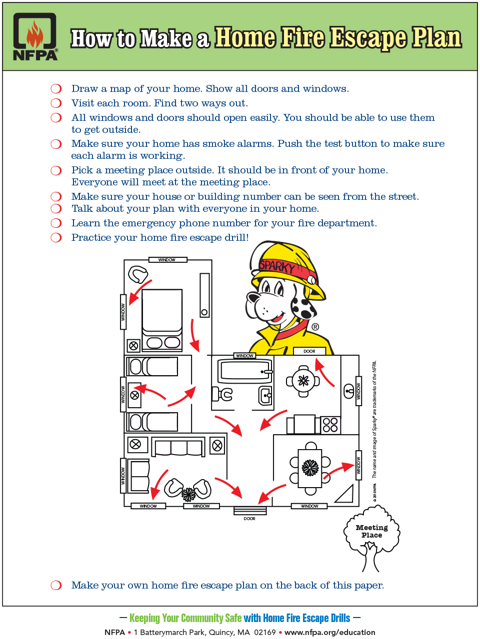 ... Including Windows And Doors. Also, Mark The Location Of Each Smoke  Alarm. Use This Escape Planning Grid From NFPA To Create Your Own Escape  Plan.