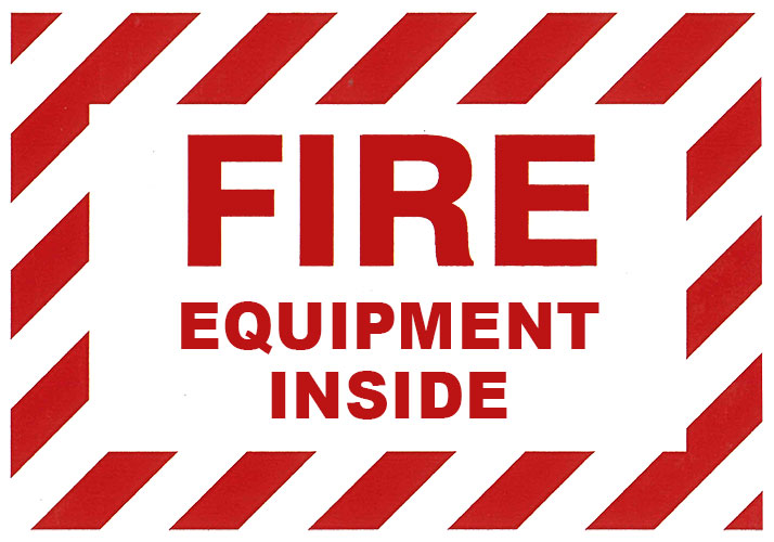 "Self-Adhesive Vinyl ""Fire Equipment Inside"" Sign 3.5"" x 5"""