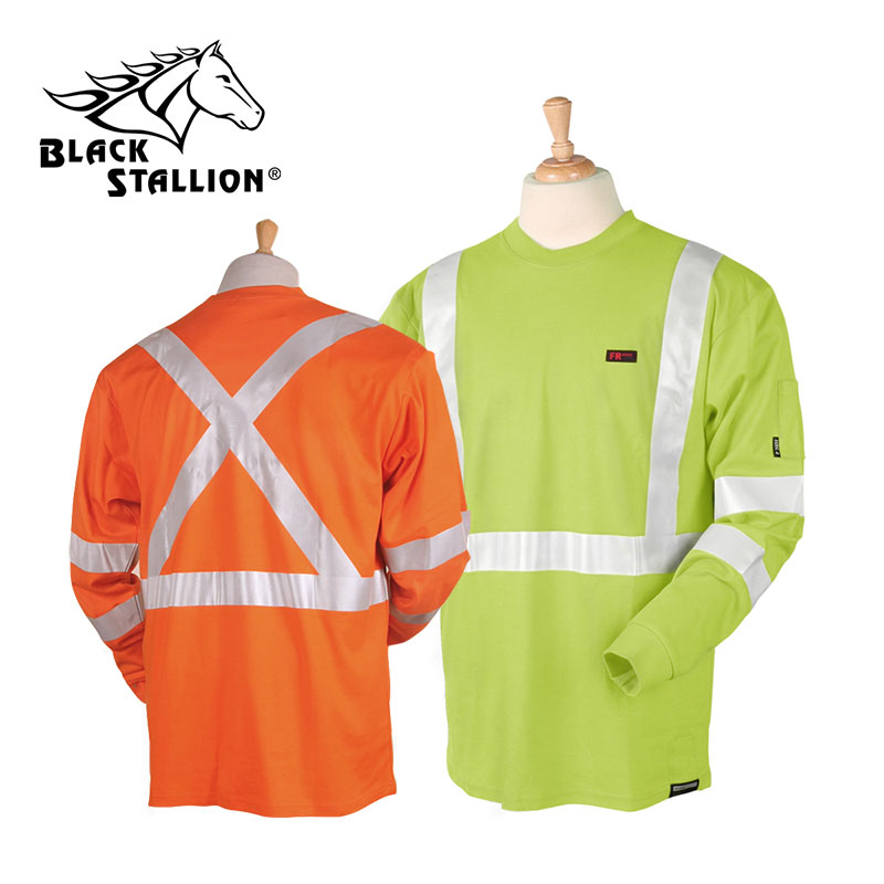 BSX-Black Stallion TruGuard 200 FR Cotton Long-Sleeve T-Shirt w/ Reflective Trim