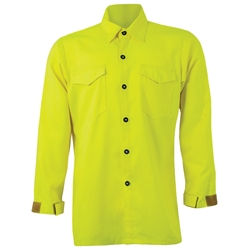 CrewBoss Hi-Viz Traditional Brush Shirt - Tecasafe Plus CrewBoss, brush shirt, cotton brush shirt, tecasafe plus, hi viz shirt, hi-viz shirt, hi-viz, hi viz, hi-viz brush shirt, hi viz brush shirt