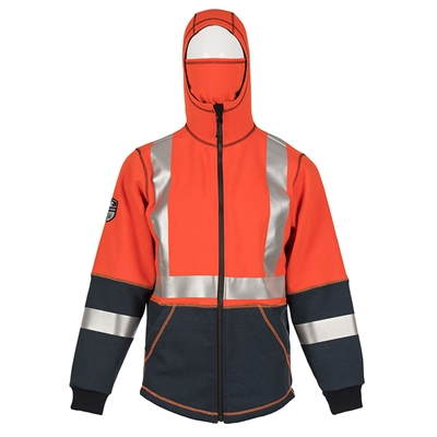 DragonWear Elements Hi-Viz Lightning Hooded Jacket - Orange