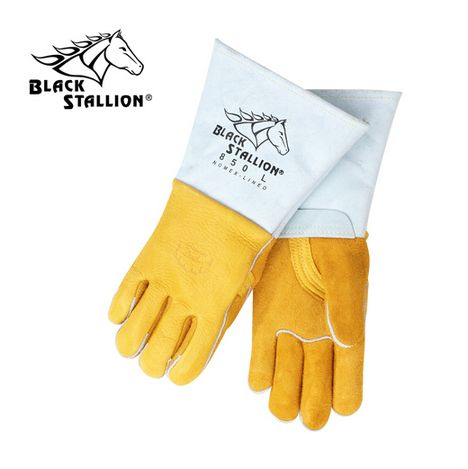 Premium Grain Elkskin Stick Welding Gloves - Nomex Backing black stallion, bsx, revco