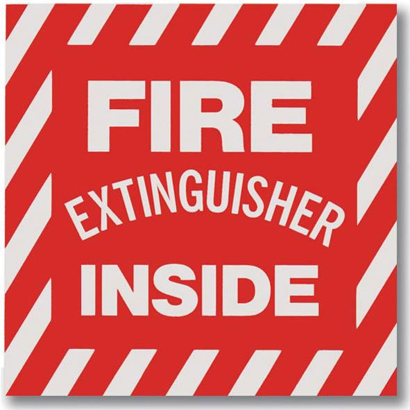 "Self-Adhesive Vinyl ""Fire Extinguisher Inside"" Sign 4""x4"""