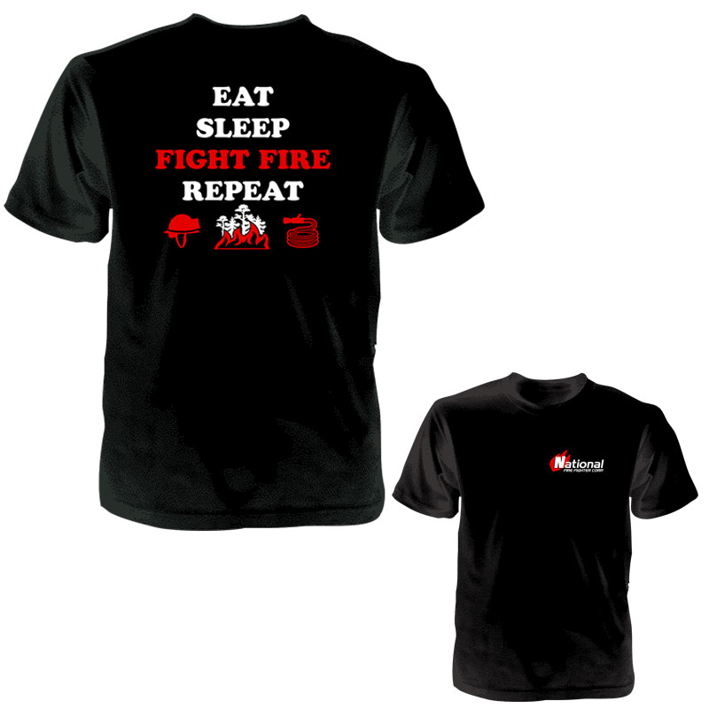 """Way of Life"" Eat Sleep FIGHT FIRE Repeat T-Shirt - CAP TSEAT"