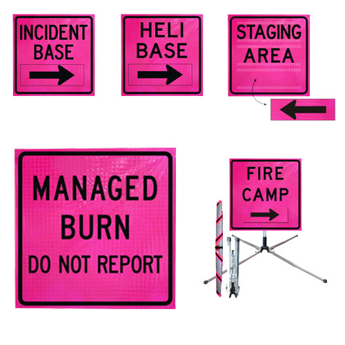 "Standard Square 36"" Roll-Up Sign - FIRE CAMP, Pink"