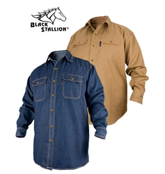 FR Cotton Work Shirt Long Sleeve ASTM 6413 Limited Wash black stallion, bsx, revco