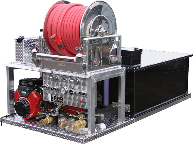 Skid unit photo gallery for Hannay hose reel motor