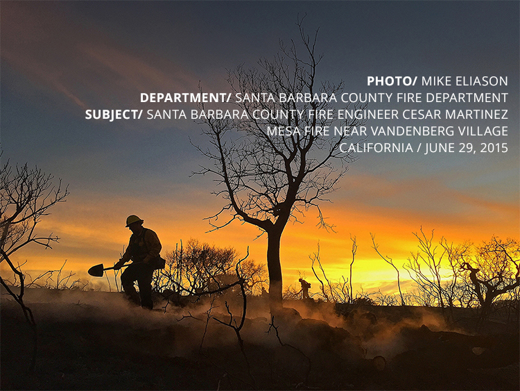PHOTO/ MIKE ELIASON DEPARTMENT/ SANTA BARBARA COUNTY FIRE DEPARTMENT SUBJECT/ SANTA BARBARA COUNTY FIRE ENGINEER CESAR MARTINEZ MESA FIRE NEAR VANDENBERG VILLAGE CALIFORNIA / JUNE 29, 2015