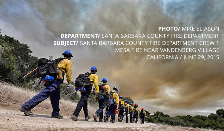 PHOTO/ MIKE ELIASON DEPARTMENT/ SANTA BARBARA COUNTY FIRE DEPARTMENT SUBJECT/ SANTA BARBARA COUNTY FIRE DEPARTMENT CREW 1 MESA FIRE NEAR VANDENBERG VILLAGE CALIFORNIA / JUNE 29, 2015