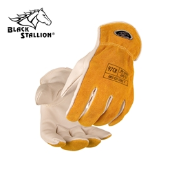 Grain/Split Cowhide Cut-Resistant Drivers Gloves black stallion, bsx, revco