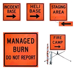 "Standard Square 36"" Roll-Up Sign - FIRE CAMP, Orange"