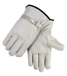 Heavy Duty Cowhide Work/Driving Glove with Pull Strap - Case of 12